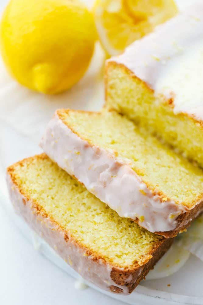 Slices of glazed lemon bread.