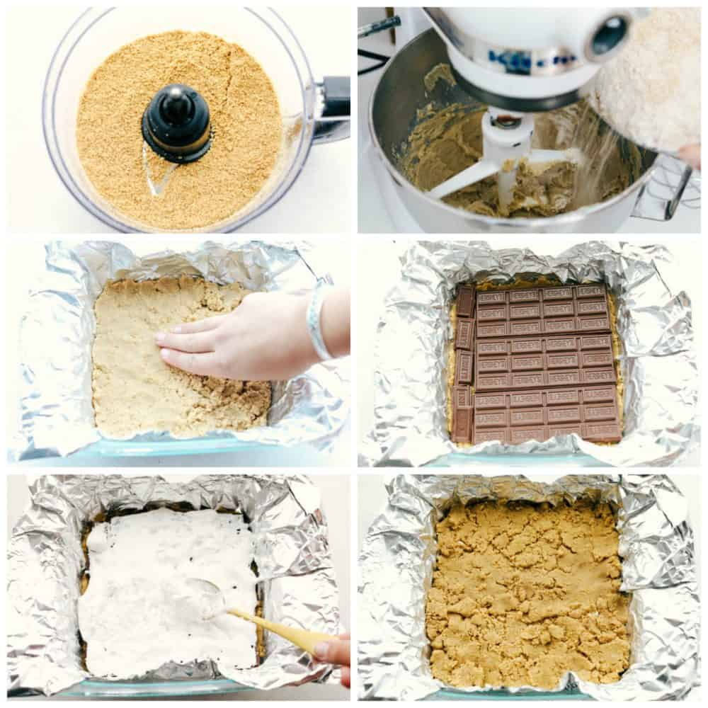 Steps to make Ooey Gooey S'mores bars.