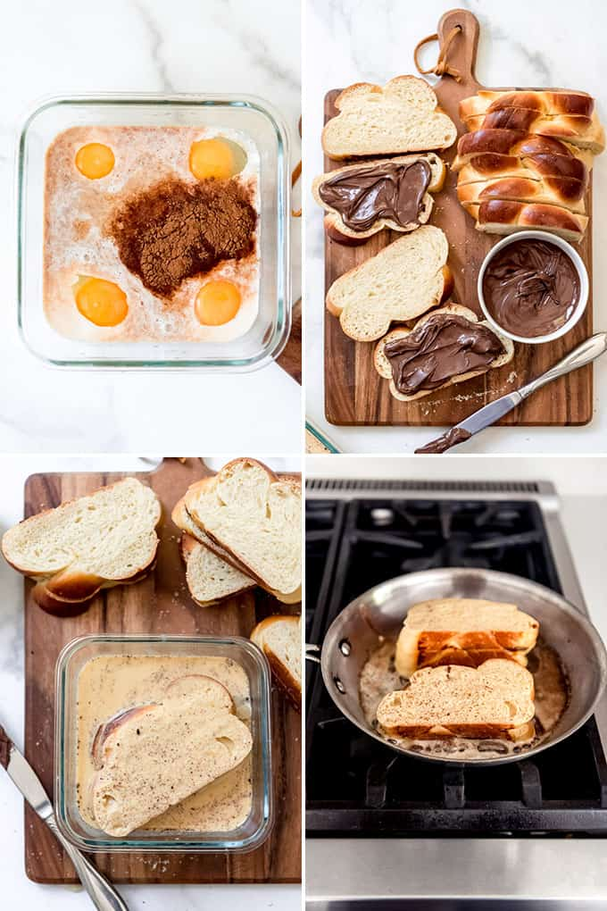 A collage of images showing how to make stuffed french toast.