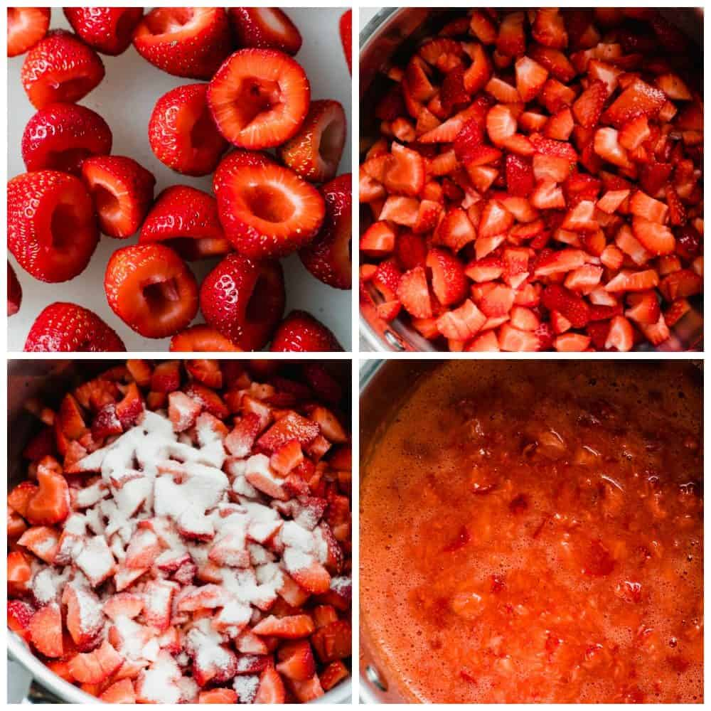 Four photos with steps for making strawberry jam.