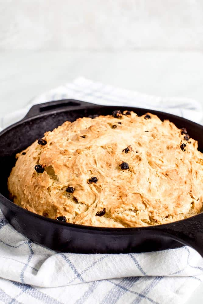traditional soda bread in cast iron skillet
