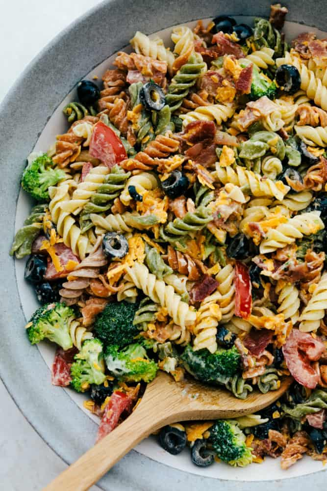 Bacon Ranch Pasta salad on a plate.
