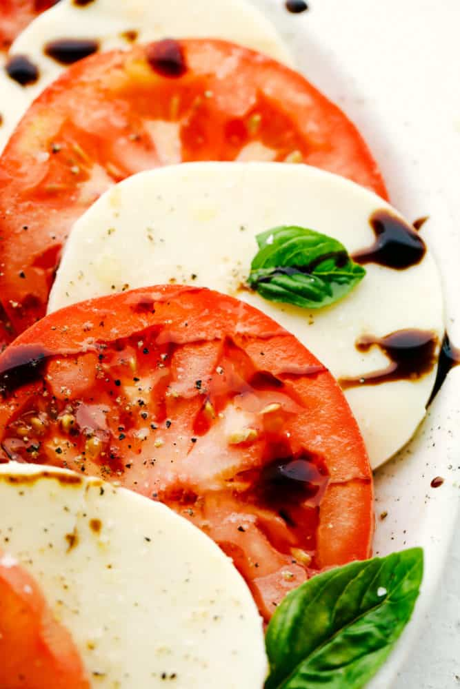 Close up on caprese salad.