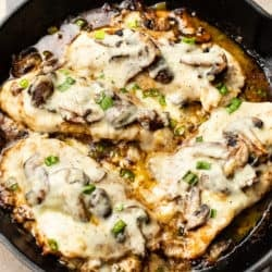 Chicken Lombardy in a cast iron skillet
