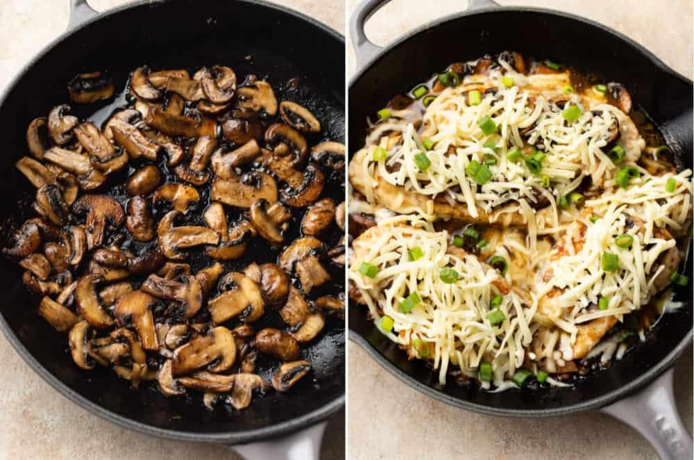 collage de recette de Poulet Lombardie (champignons sautés et la poêle avant de passer au four)