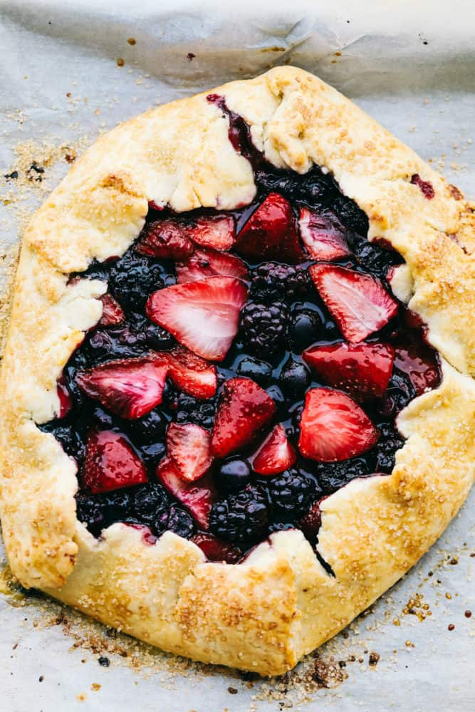 Areal view of finished berry galette.