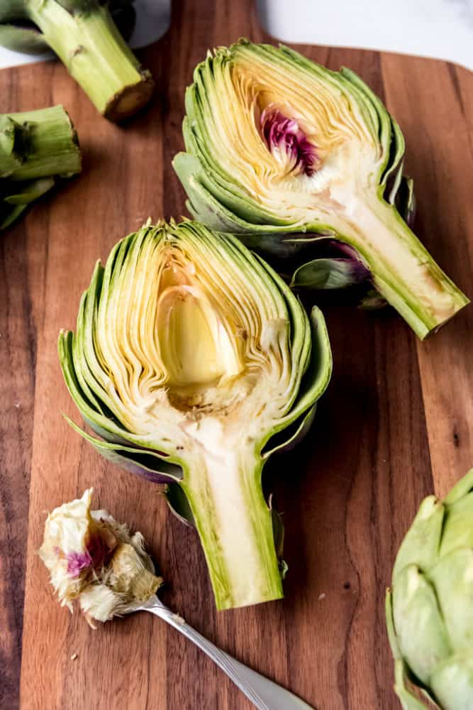 An artichoke half with the choke removed from the center.