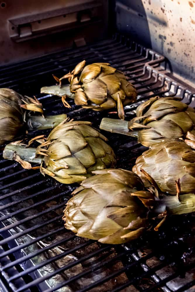 Artichokes on a grill.