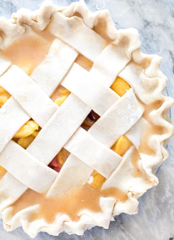 Peach pie with a lattice top