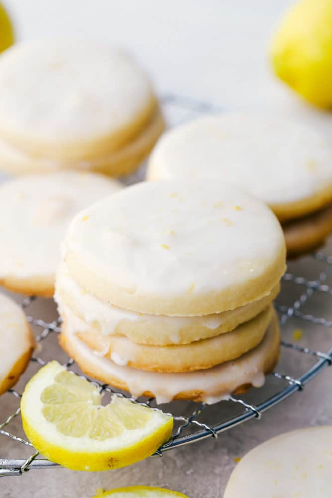 A stack of lemon shortbread cookies.