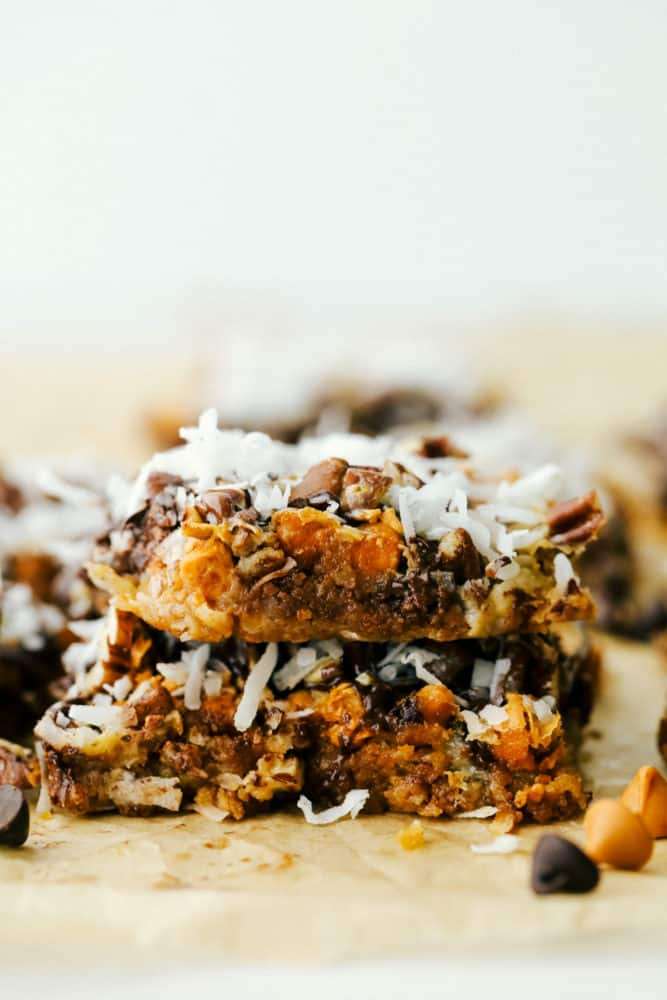 Close up on a stack of 2 seven layer bars.