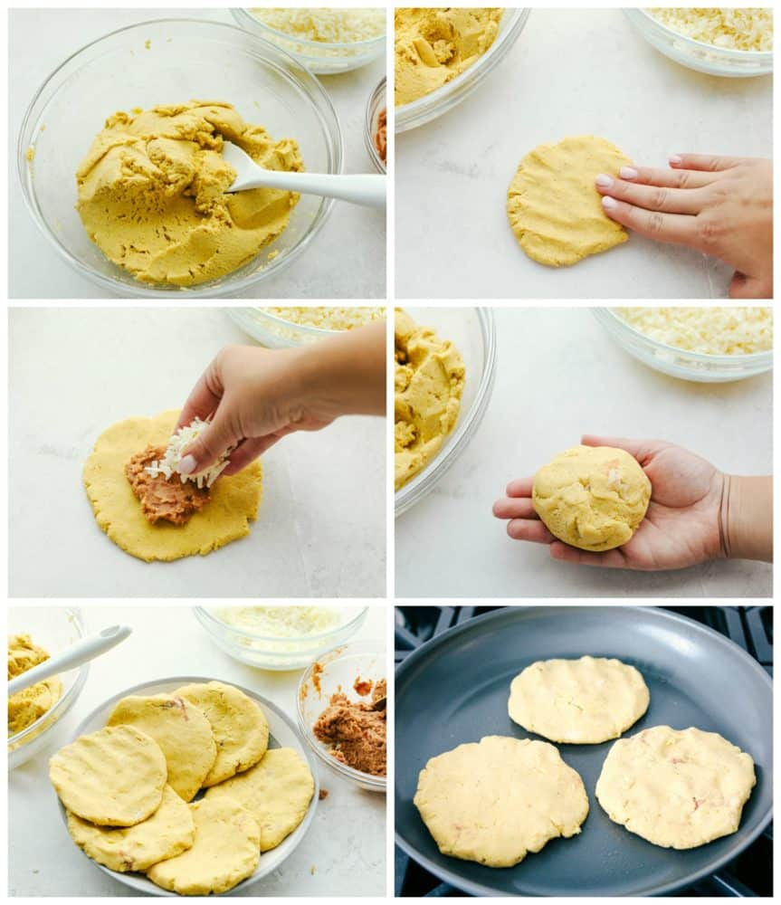 Steps to make Bean and Cheese Pupus.