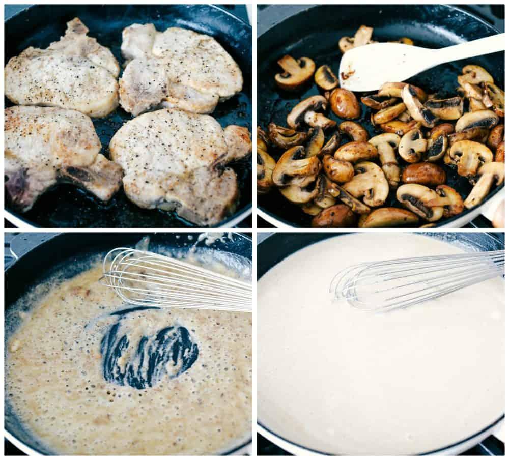 Steps to make smothered pork chops.