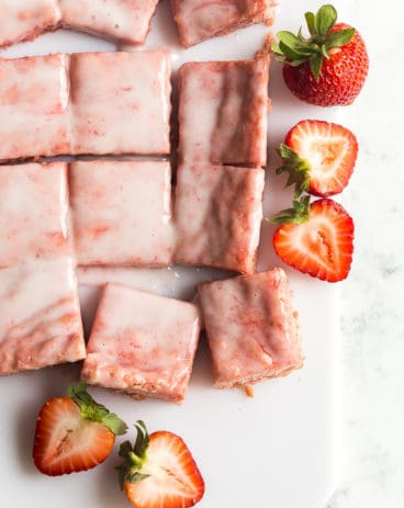 strawberry brownies cut in squares overhead