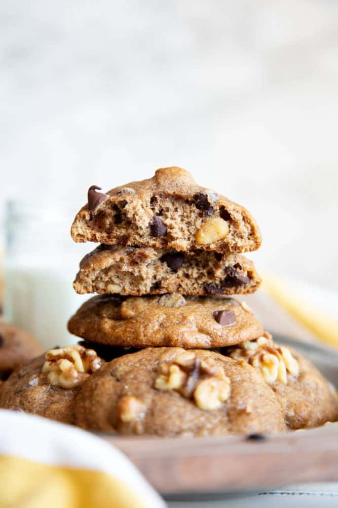 A stack of banana cookies