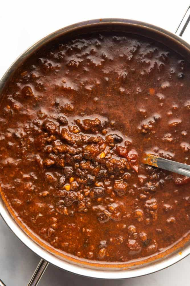 chili cooked in a pot for chili dogs