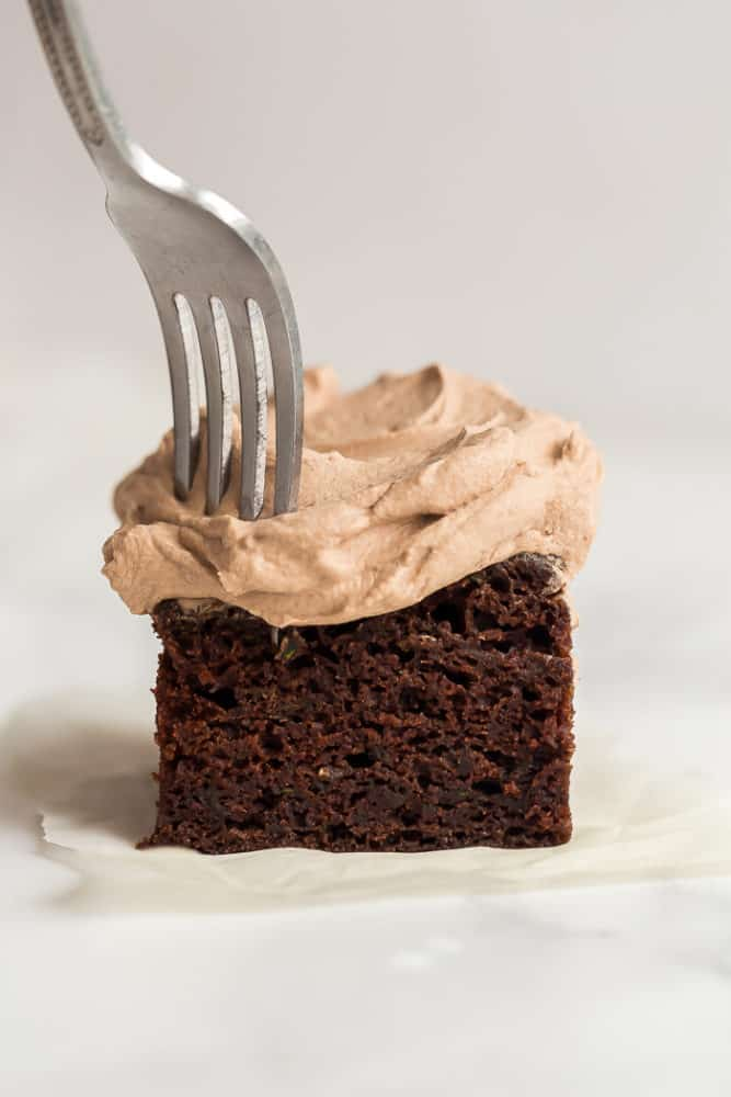 piece of chocolate zucchini cake with fork