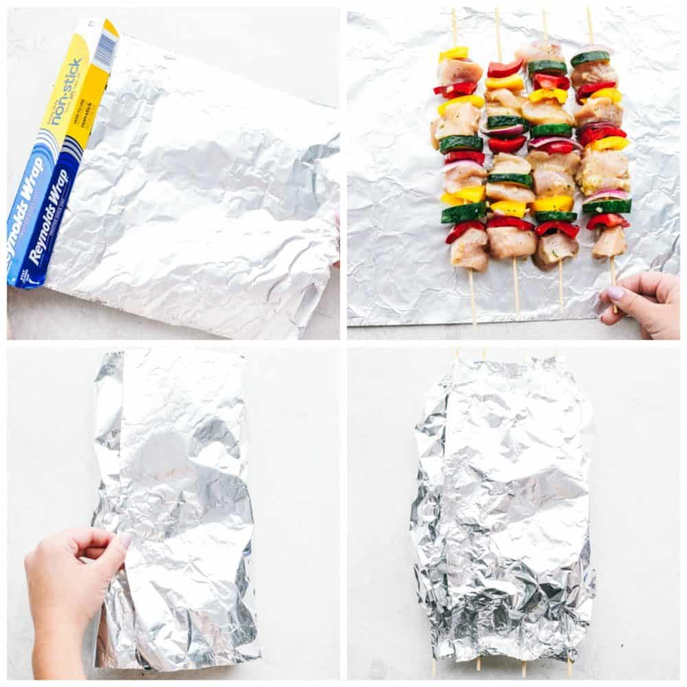 Four photos being used in the process of making chicken skewers with Reynolds wrap foil packet.