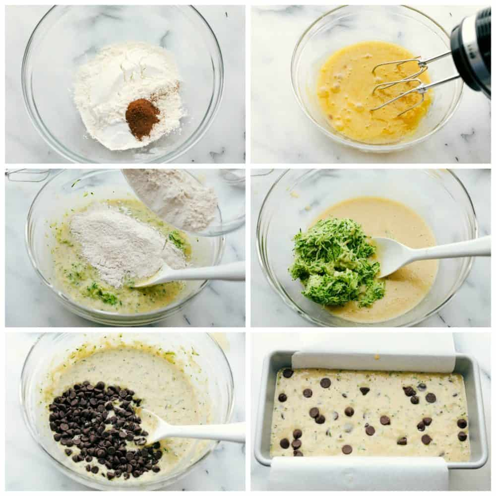 Steps to make chocolate chip zucchini bread.