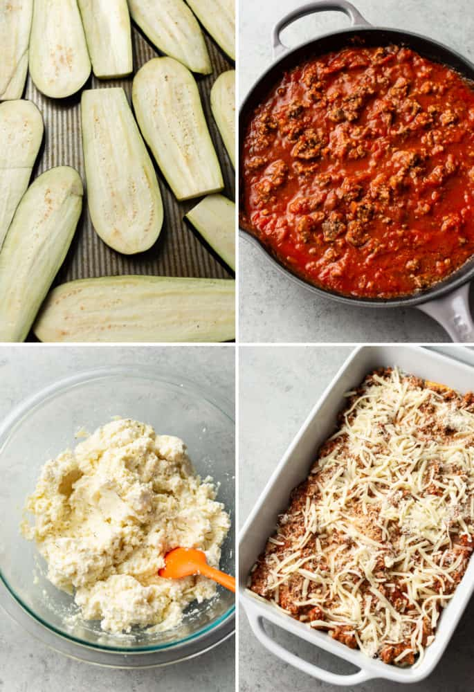 collage of eggplant lasagna process (eggplant on baking sheet, marinara sauce in skillet, cheese mixture in glass bowl, unbaked assembled lasagna)