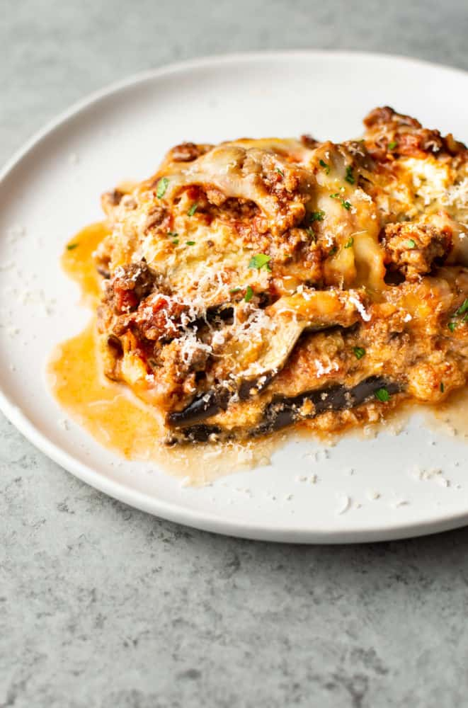 eggplant lasagna on white plate