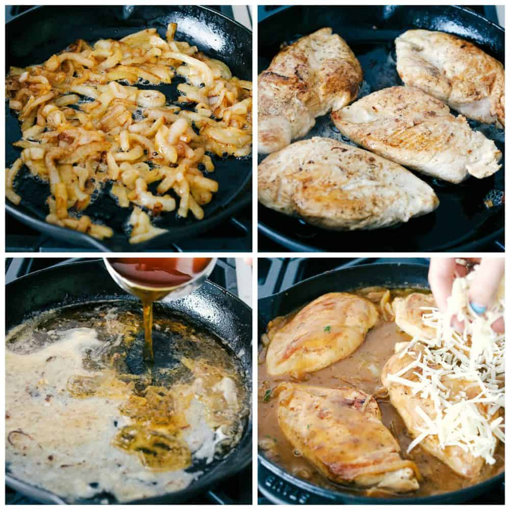 Steps to make skillet french onion chicken.