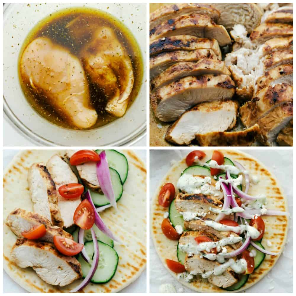 How to make chicken gyro with tzatziki meal.