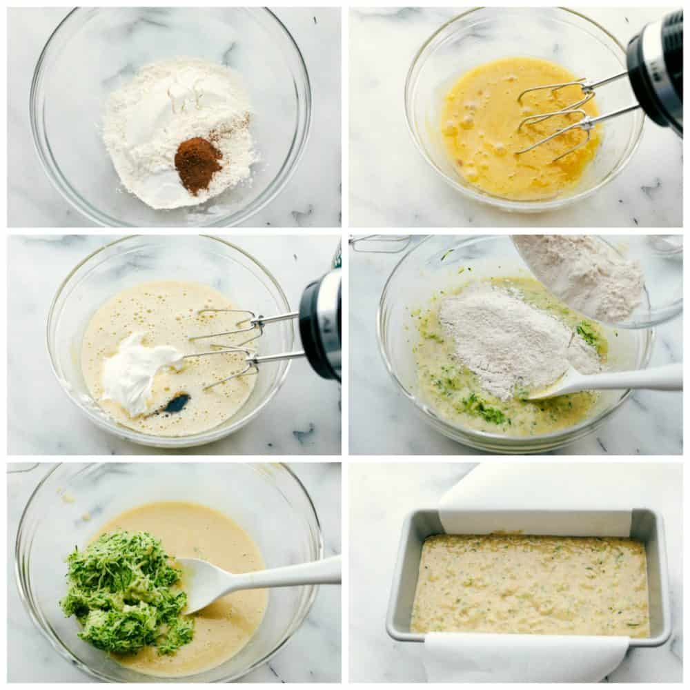 The process of making zucchini bread in six photo steps.