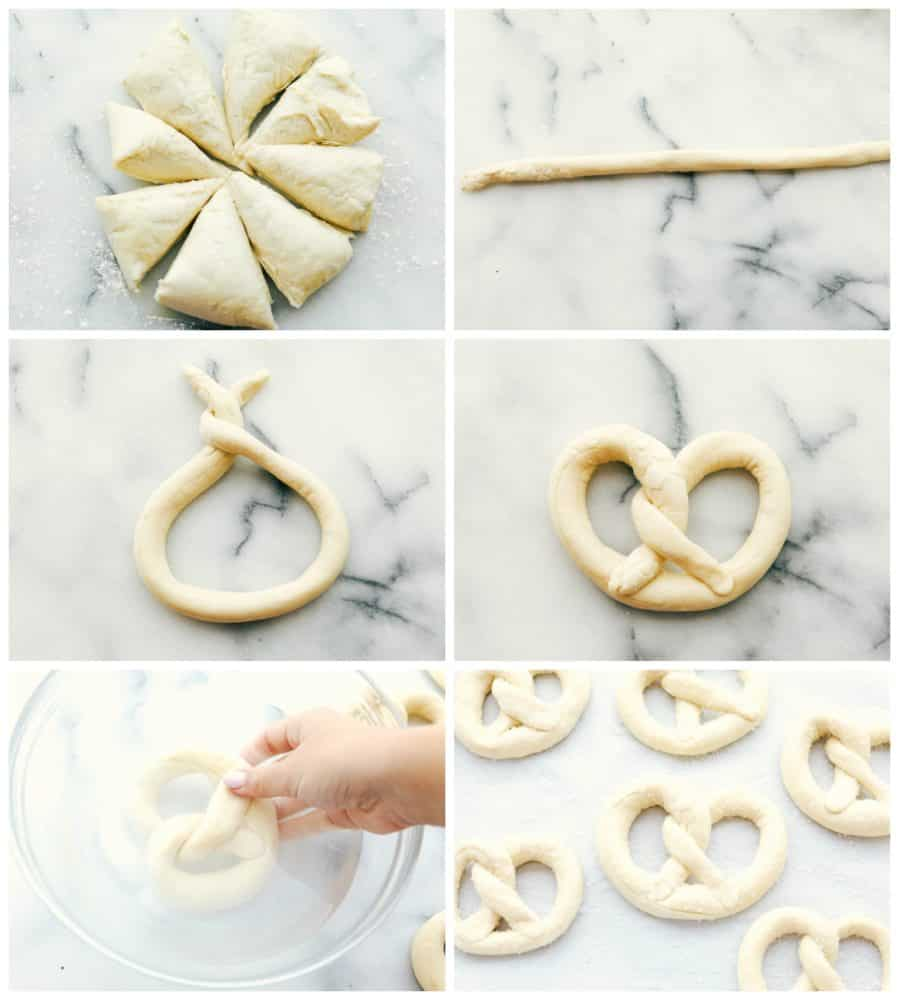 Steps to make a soft pretzel.