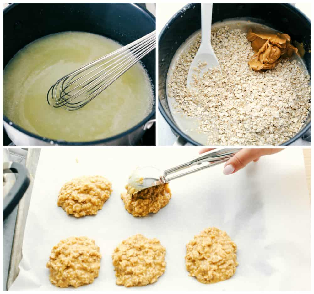 Steps to make no bake peanut butter cookies.