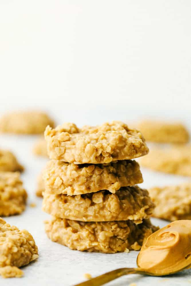 Stack of peanut butter no bake cookies.
