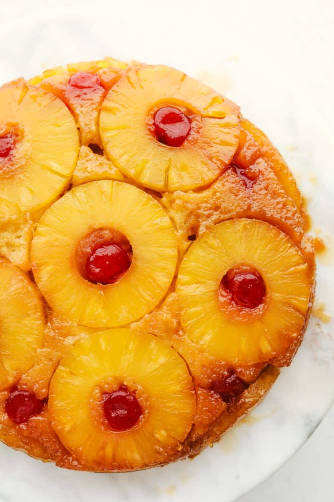 Areal view of finished pineapple upside down cake.