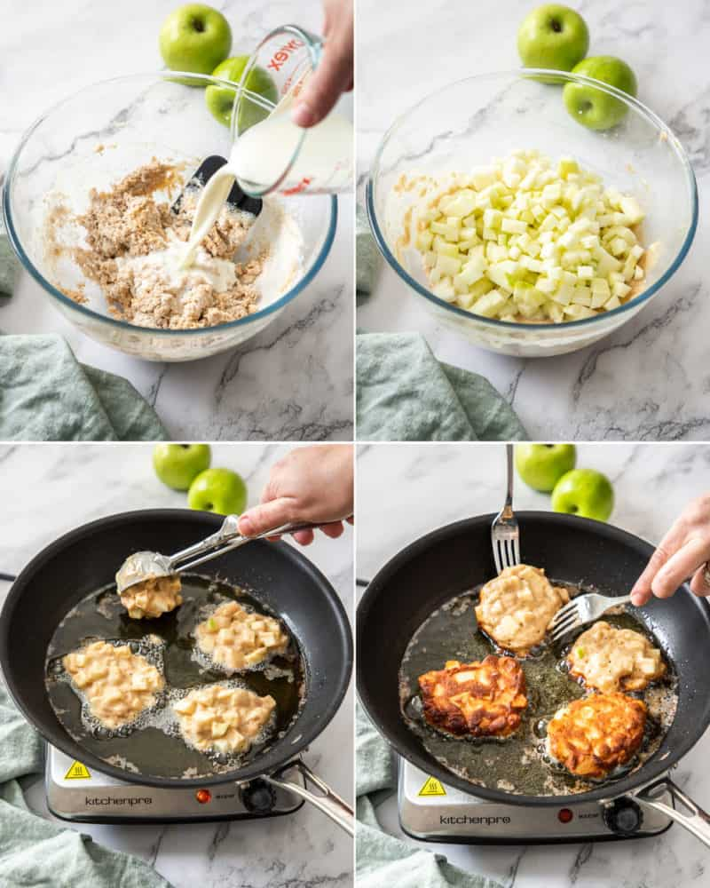 4 images showing mixing batter in a glass bowl, then frying fritters in a frying pan
