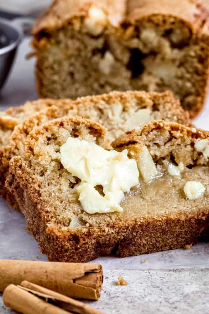 Butter covered slice of quick bread.
