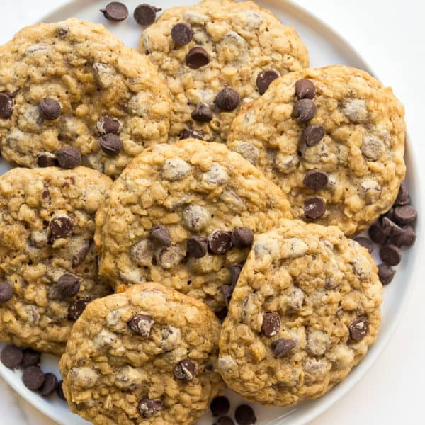 overhead image of oatmeal chocolate chip cookies on plate
