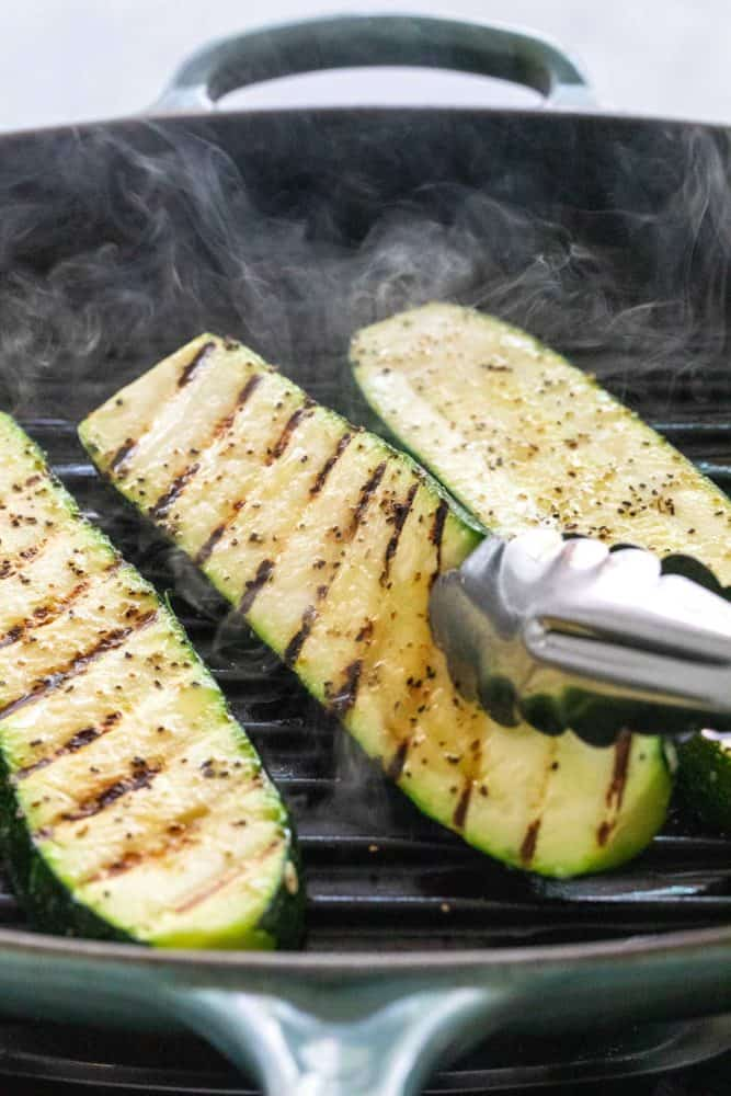 Cooking zucchini in a grill pan