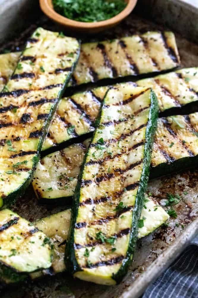 Zucchini slices with grill marks