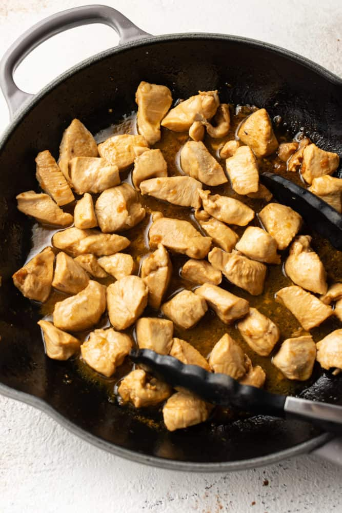 hibachi chicken in a cast iron skillet