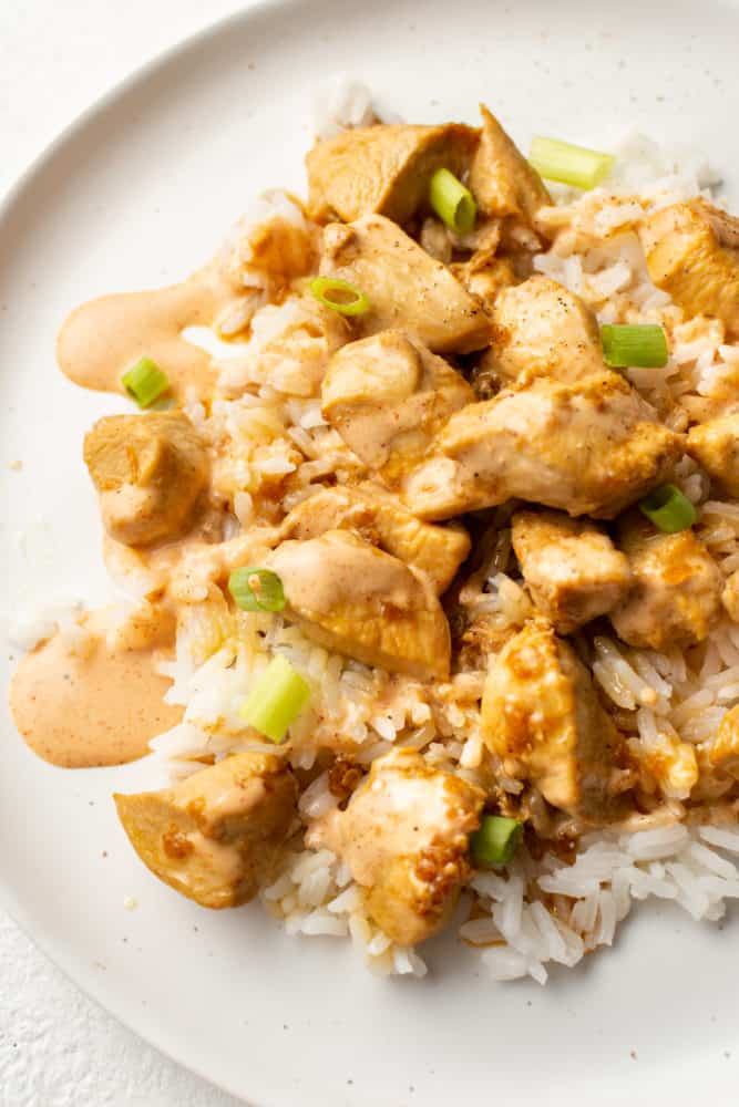 close-up of hibachi chicken on a plate