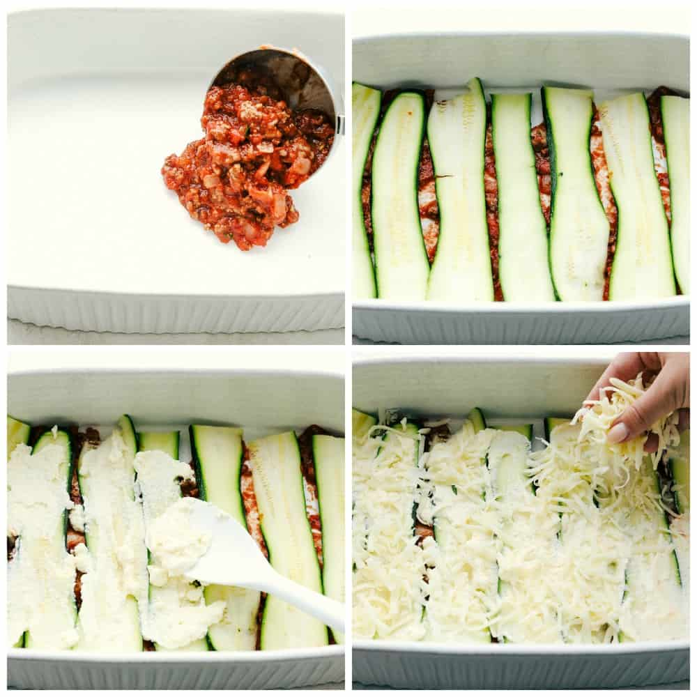 The process of layering zucchini lasagna.