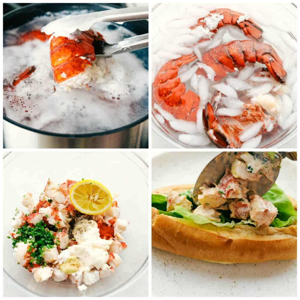 Steps to make lobster rolls.