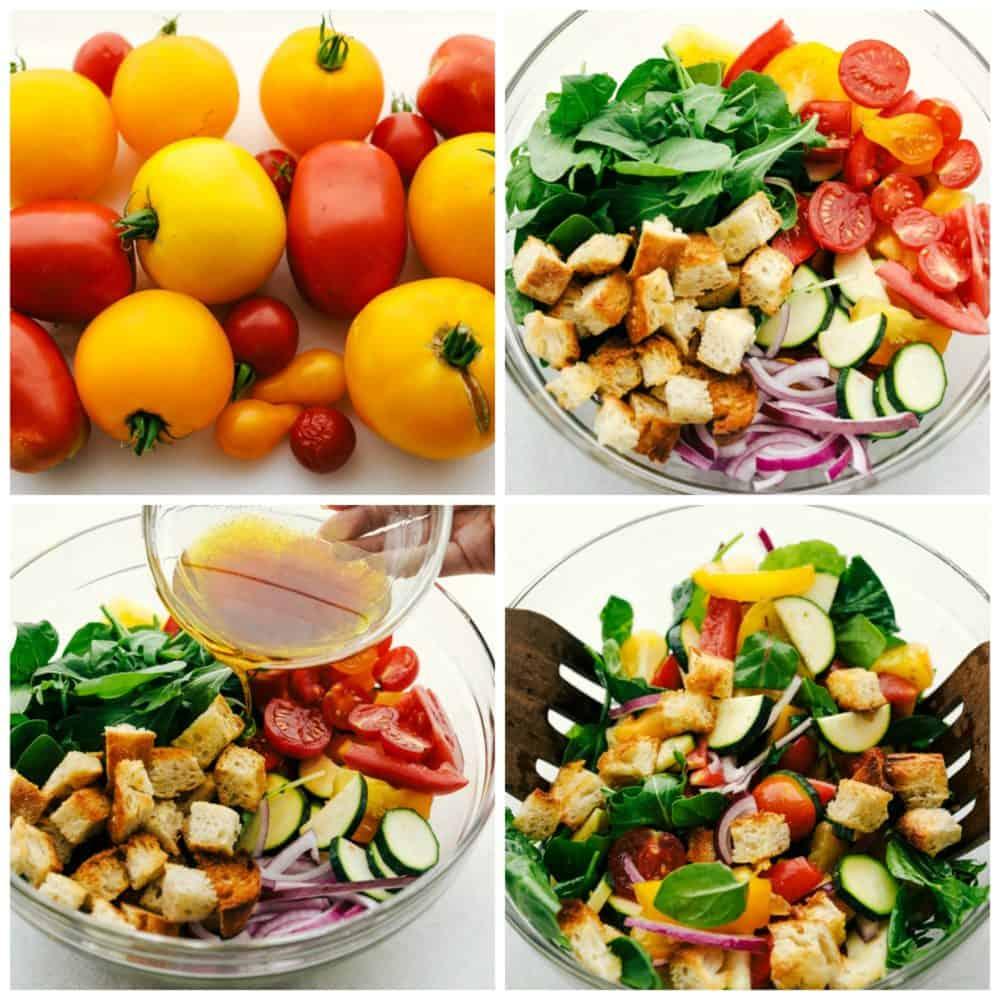 O processo de fazer uma Salada Panzanella.