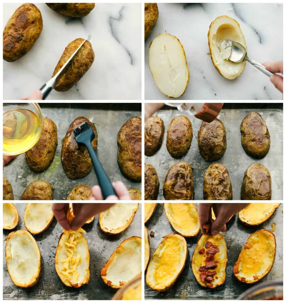 The process of making potato skins.