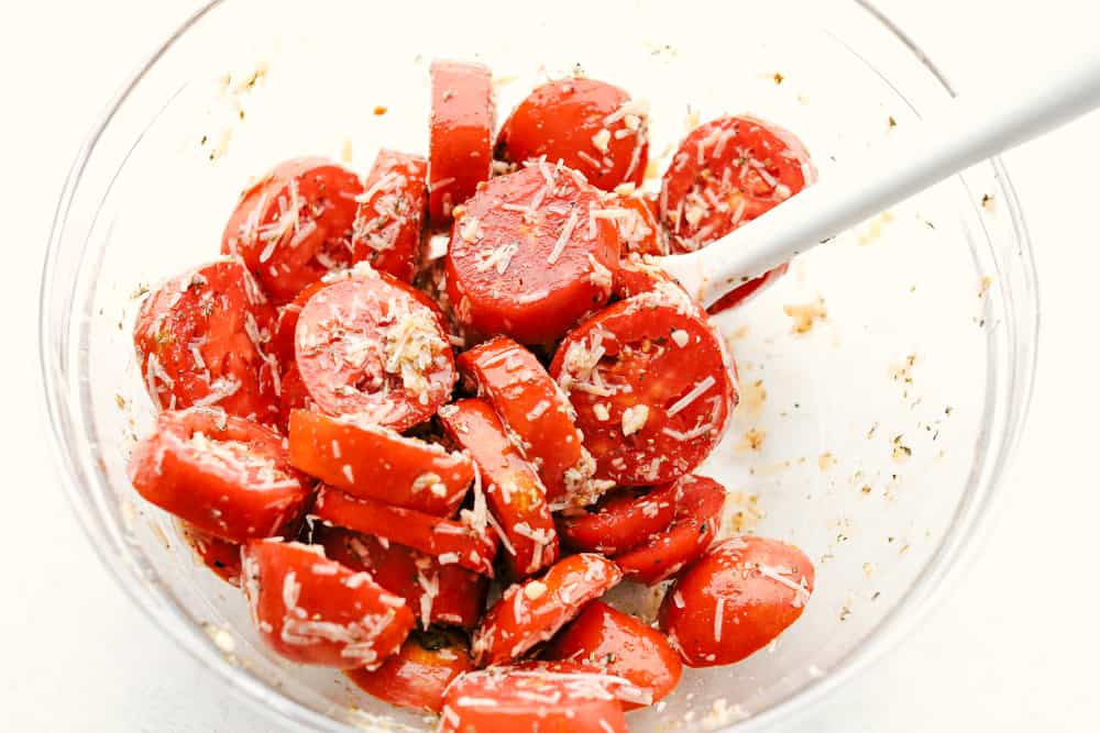 Roasted tomatoes with spices and seasonings.