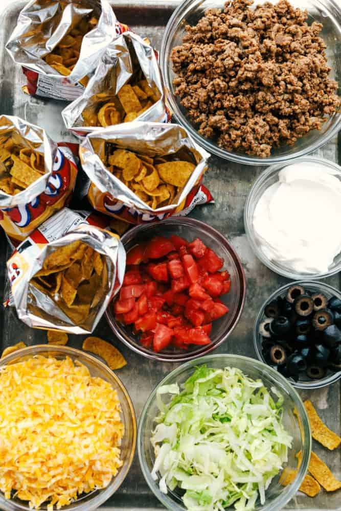 Overhead view of all the ingredients in a walking taco.