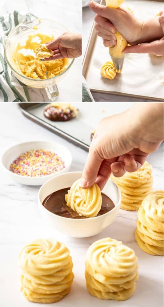 3 plans montrant la texture de la pâte pour les biscuits, les biscuits passepoilés, puis les trempant dans du chocolat