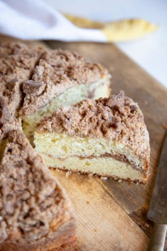 Coffee cake slices on a wooden board