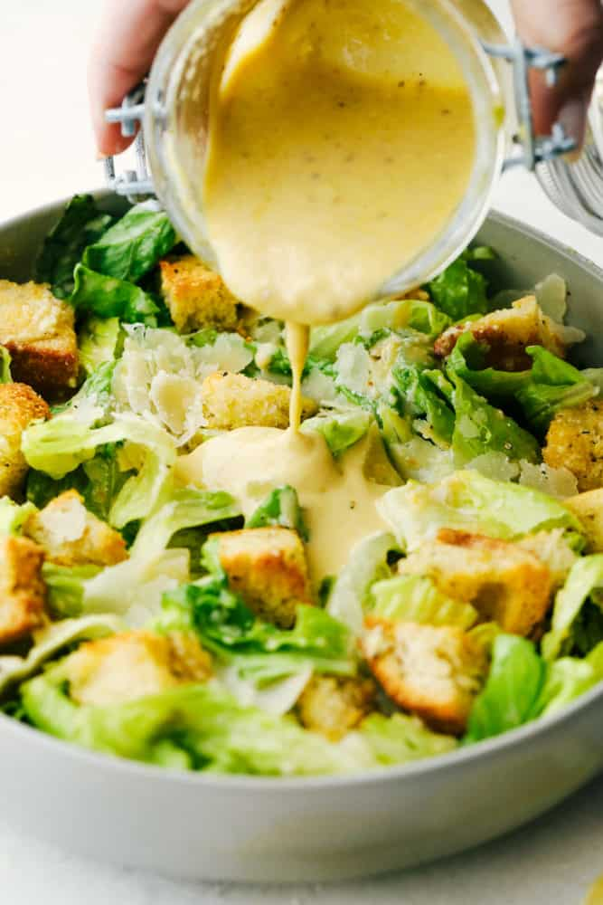 Crispy, light and fresh Caesar Salad with homemade dressing and croutons.