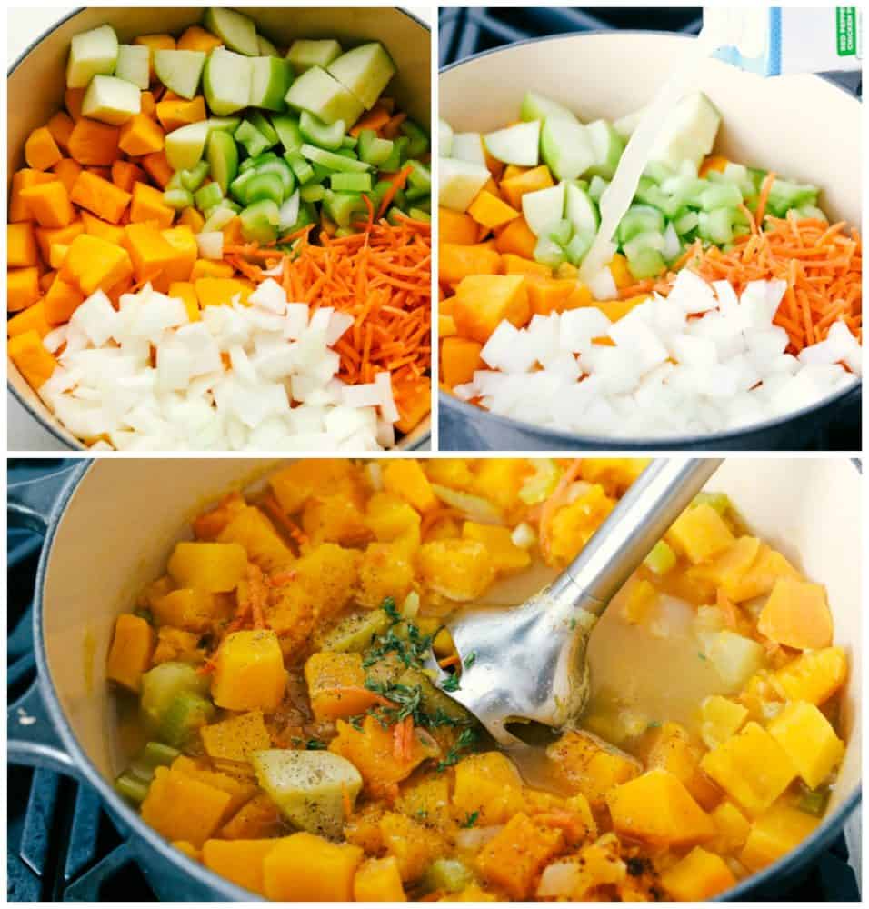 Making rich, creamy savory butternut squash soup.