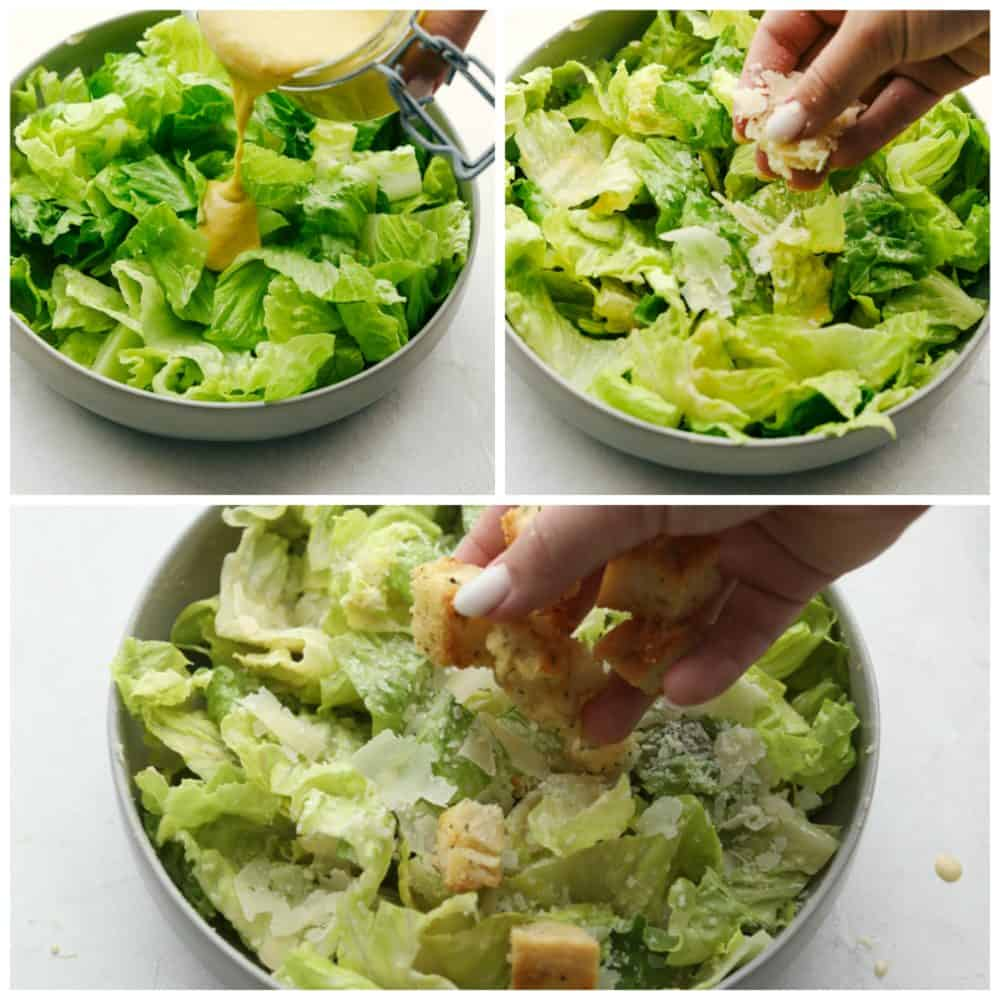 Assembling the perfect light and fresh Caesar Salad.